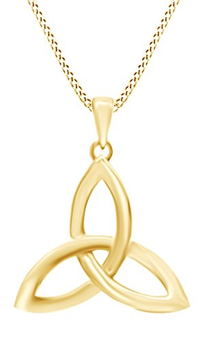 AFFY Celtic Trinity Knot Pendant Necklace in 14K Yellow Gold Over Sterling Silver