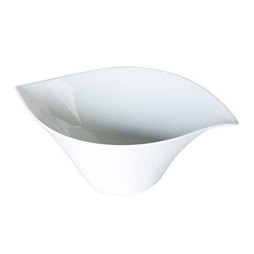Table Passion - Saladier porcelaine blanche 36 cm forme feuille
