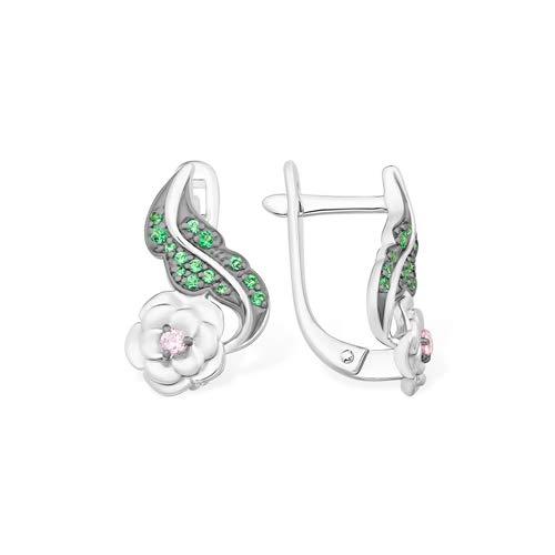 Efremov 1210067515 Earrings 925 Silver Cubic Zirconia Stones Floral Brand Jewellery