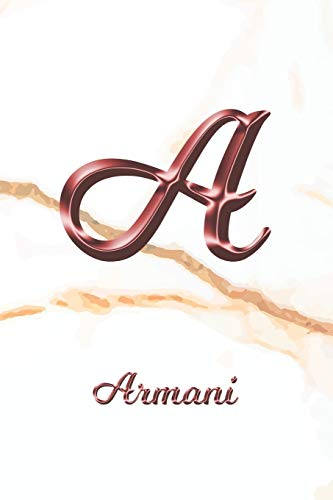 Armani: Sketchbook | Blank Imaginative Sketch Book Paper | Letter A Rose Gold White Marble Pink Effect Cover | Teach & Practice Drawing for ... Doodle Pad | Create, Imagine & Learn to Draw