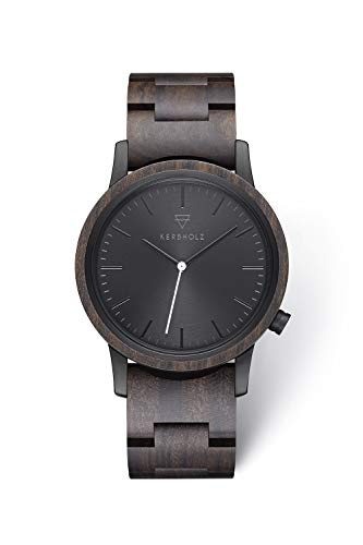 Kerbholz Holzuhr – Classics Collection Walter analoge Unisex Quarz Uhr, Gehäuse und verstellbares Armband aus massivem Naturholz, Ø 40mm