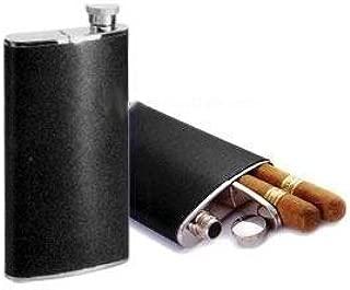Cigar Case Flask Combo Hip Flask (4 Oz) w/ Cigar Holder (6-1/2