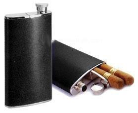 Cigar Case Flask Combo Hip Flask (4 Oz) w/ Cigar Holder (6-1/2')