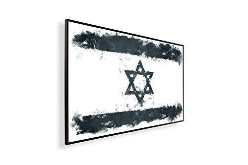 Könighaus Fern Infrarotheizung – Bildheizung in HD mit TÜV/GS - 200+ Bilder - Mit Smart Thermostat + Könighaus APP übers Handy - 300 Watt -147. Israelische Flagge Black Edition