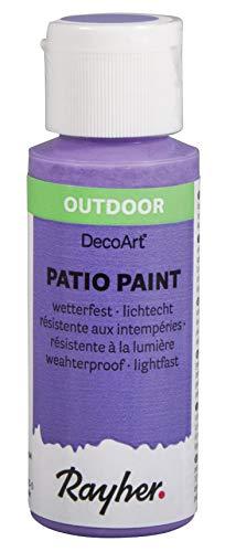 Rayher 38610314 Patio Paint, violett, Flasche 59 ml, wetterfeste Acrylfarbe für Den Außenbereich, lichtecht, Farbe für Innen und außen, Outdoor-Farbe