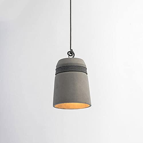 KAIKEA E27 Iluminación de un solo cabezal Luz de techo colgante de campana de hormigón industrial Lámpara de techo colgante de loft con iluminación de granero de cuerda de cáñamo para Bar Cafe Dormito