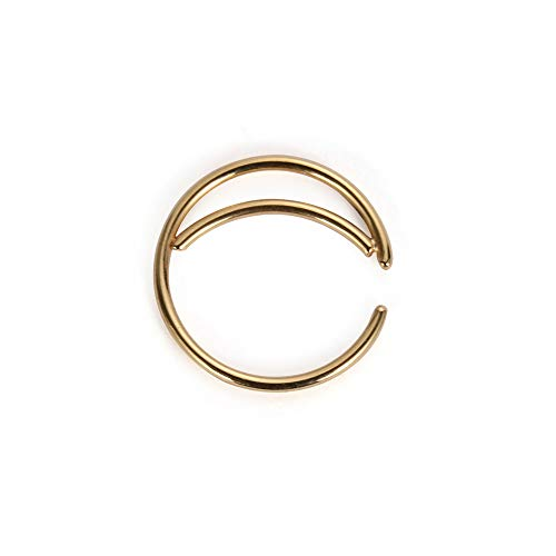 Tunsun Stainless Steel Moon Nose Ring Hoop Indian Nose Ring Septum Ring Nose Jewelry Nose Piercing Small Nose Hoop (Gold, 10mm)
