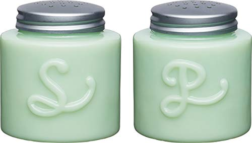KitchenCraft Milk Glass Salt and Pepper Shakers in Gift Box, Jade Green