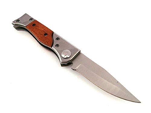 KS-11 kleines Messer Klingenlänge 7,5 cm Taschenmesser Einhandmesser aus Holz, Metall - Outdoor - Survival, braun Silber