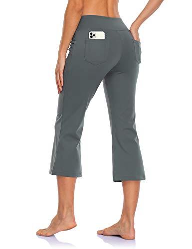 MOVE BEYOND Pantalones Piratas de Yoga Bootcut para Mujer con 4 Bolsillos Pantalón Corte de Bota de Cintura Alta para Vestir Pilates Fitness Entrenamiento, Capris, Gris, XXL