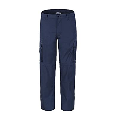 """Bienzoe Men's Outdoor Quick Dry Waterproof Convertible Cargo Pants, Navy 36""""30"""""""