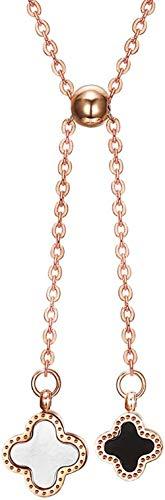 PPQKKYD Halskette Zubehör Doppelklee Halskette Titan Stahlhalsband Klee Anhänger Roségold Mädchen Schmuck