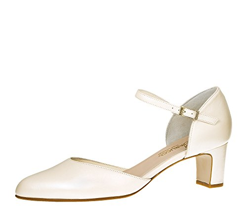 Fiarucci Brautschuhe Veronique - Pumps Riemchen Ivory Leder - Blockabsatz - Gr 41 EU 8 UK