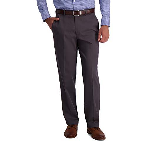 Haggar Men's Iron Free Premium Khaki Classic Fit Flat Front Expandable Waist Casual Pant, Dark Grey, 32 x 30