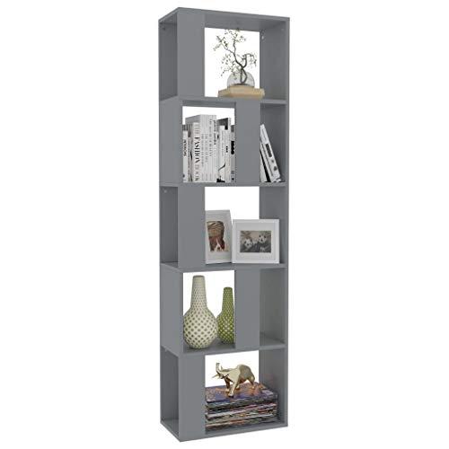 Tidyard Estantería/Divisor Librería de Madera con Cubos y estantes Abiertos, Estantería para Libros Independiente de Espacios aglomerado 45x24x159 cm,Gris
