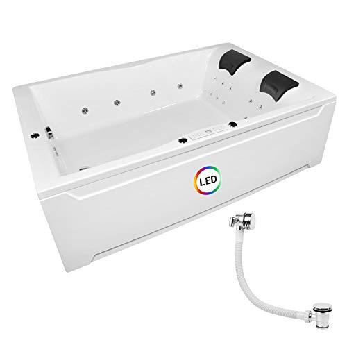 Whirlpool Badewanne Hamburg 180x120cm Modell: Classic XL+Ab-Überlauf mit Zulauf + 20 Kunststoffdüsen Badewanne mit Bausatz Whirlpool Badewannen Zubehör Wellness Indoor Whirlpool für 2 Personen