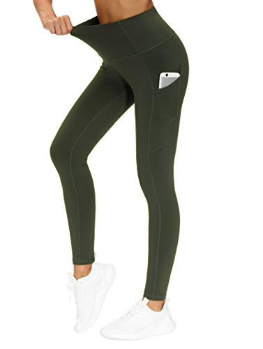 THE GYM PEOPLE Thick High Waist Yoga Pants with Pockets, Tummy Control Workout Running Yoga Leggings for Women (X-Large, Dark Olive)