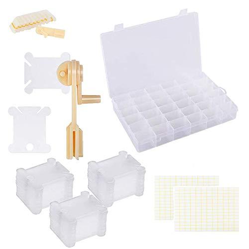 Caja Organizadora de Hilo de Bordar, 200 Carretes de Hilo Dental de Plástico y 2 Bobinadora, 36 Compartimentos y 256 Pegatinas de Puntos Blancos, Para Proyectos de Bricolaje y Costura