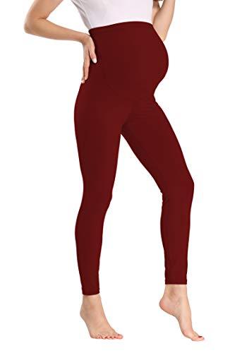 Kegiani Leggings lunghi da donna a vita alta, leggings da gravidanza rosso vivo S