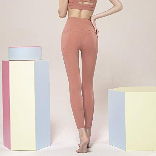 QTJY Pantalones de Yoga Desnudos para Mujer, Pantalones para Correr, Mallas de Yoga Delgadas de Cintura Alta para Mujer, Pantalones Deportivos Suaves de Secado rápido elásticos CS
