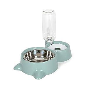 Comedero automático doble para cachorros, gatos, perros, con botella de agua, dispensador de agua, contenedor de comida para mascotas rosa 3