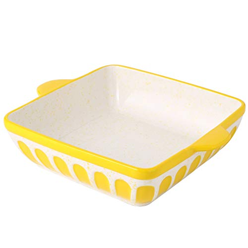 Ceramic Baking Dish Square Cake Baking Pan Lasagna Pans 8.7 inch Baker Cookware with Double Handle for Dinner, Yellow
