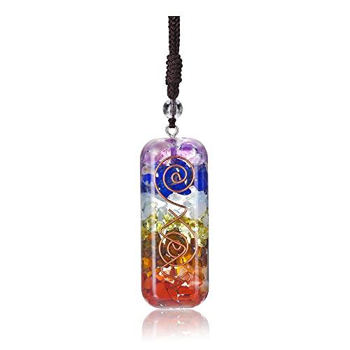 CrystalTears Collana con 7 chakra, gioielli per yoga, ciondolo Orgonite Reiki, regali per ragazze e donne