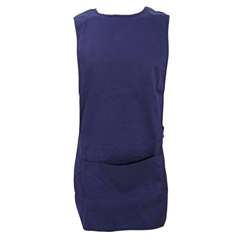 Delantal para trabajo largo con bolsillo (Pequeña (S)/Azul marino)