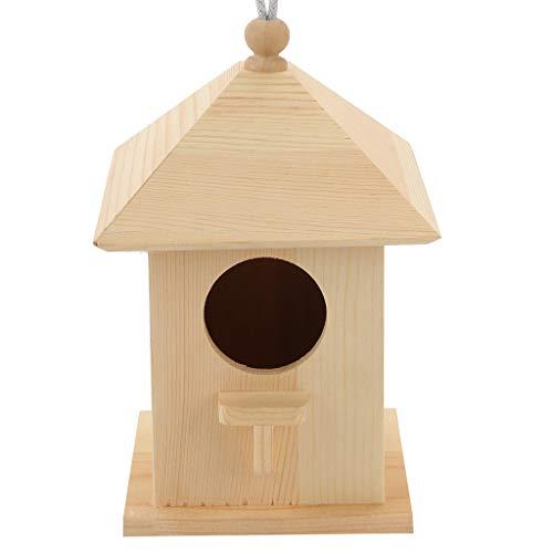 Baslinze Süßes Vogelhäuschen Schlafhaus aus Holz Kompatibel mit den Vogel Käfig oder Voliere Geliebt als Schlafplatz Natürliches Stroh Hängenest Haustier Vogelfutterhaus aus Holz Vogelhausständer (C)