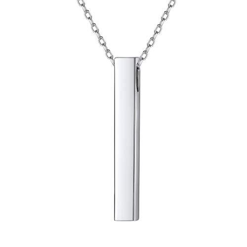 Silvora S925 Plata Barra Cuboide Vertical Colgante Collar Plata de Ley para Mujeres Hombres
