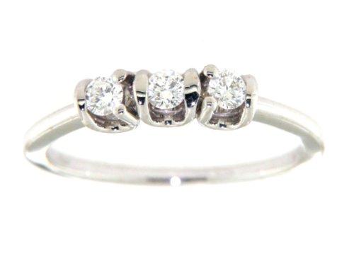Mia Gioielli - Anello in Oro Bianco 750 Diamanti Trilogy cts 0.24 G/VS, Misura 15, F-05811-0B00