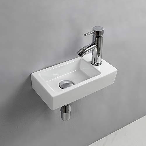 Waschbecken zum Aufhängen an der Wand, klein, rechteckig, Keramik (rechte Hand)