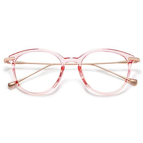 SOJOS Runde Brille mit Blaulichtfilter Katzenauge ohne Sehstärke TR90 Rahmen SJ5075 (C5 Kristall Rosa Rahmen/Anti-Blaulicht Linse)