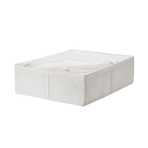 SKUBB 69x55x19 cm weiß Aufbewahrungsbox mit Trennwand (Sie können den Aufbewahrungskoffer sogar unter dem Bett aufbewahren - perfekt für Schuhe oder zusätzliche Bettwäsche, Kissen oder Bezüge)