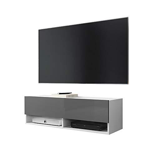 Selsey WANDER – TV-Lowboard / TV-Schrank in Weiß Matt/Grau Hochglanz hängend, 100cm