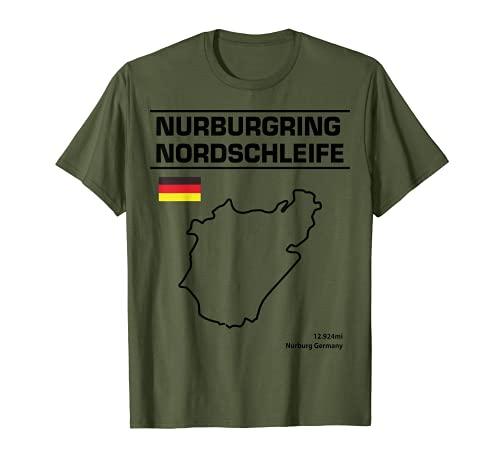 Nurburgring Nordschleife Track Outline fan de la carrera Camiseta