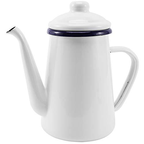 Senmubery 1.1L Enamel Coffee Pot Hand Tea Kettle Induction Cooker Gas Stove Universal White