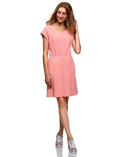 oodji Ultra Mujer Vestido de Punto con Elástico en la Cintura, Rosa, ES 42 / L