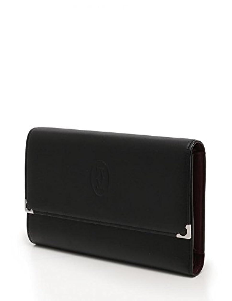 ミリメートル外交問題アルコール(カルティエ)Cartier カボション 三つ折り財布 L3000599 レザー 黒 ボルドー レディース 中古