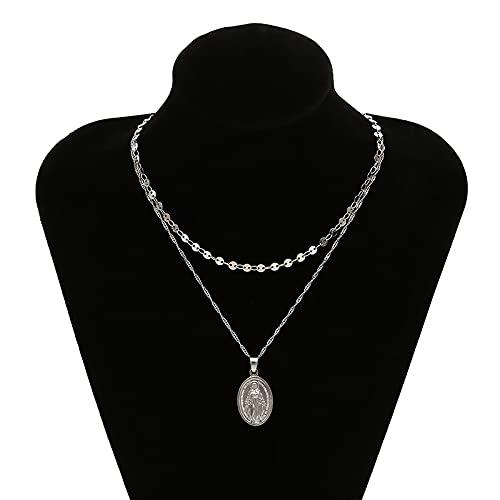 Collar Joyas Collar con Colgante Clásico De Jesús Virgen María para Mujer, Elegante Y Encantadora Cadena De Clavícula De Oro para Mujer, Joyería Relig