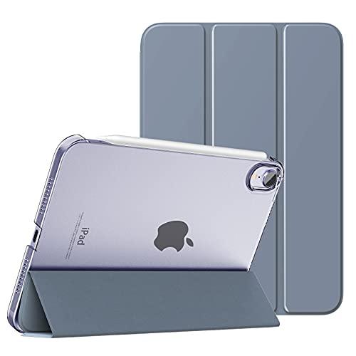 MoKo Schützhülle Kompatibel mit Neu iPad Mini 6 8,3 Zoll 2021 - iPad Mini 6. Generation Schutzhülle mit Trifold Ansichtsständer Auto Schlaf/Aufwach Intelligente Hülle Ständer Cover, Grauviolett