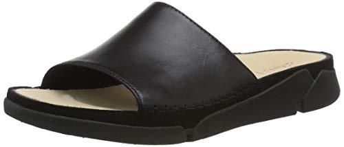 Clarks Damen Tri Slide Geschlossene Sandalen, Beige (Black Leather Black Leather), 35.5 EU