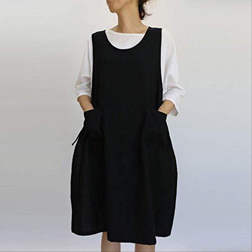 mhde Schürzen Baumwoll-Tunika-Kleid Lässige, Ärmellose, Knielange Schürzen Kleid Mit Taschen Schürze Im Japanischen StilBk