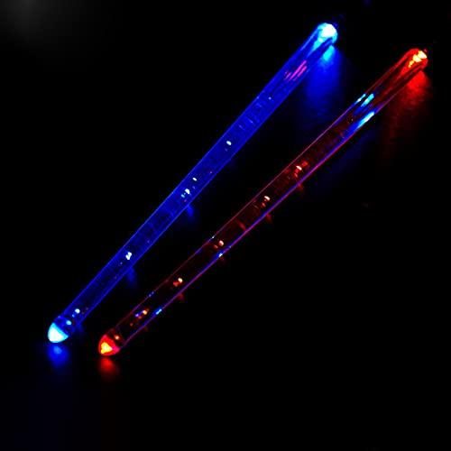 YXYOL 2 Pcs,Drumsticks,Baquetas para Tambor,Baquetas con Luz Led,15 Cambios De Color,Admite Carga USB con Llave De Apertura,PráCtica Musical Profesional para NiñOs Y Adultos