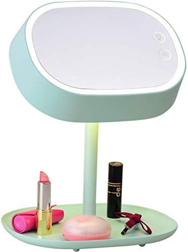 Dongyd Tafellamp, spiegel, make-up, multifunctioneel, bureaulamp, LED, dimbaar, oplaadbaar, touch-schakelaar (kleur: mintgroen)