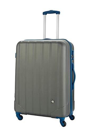 PIANETA - Handgepäck Hartschalen-Koffer Koffer Trolley Rollkoffer Reisekoffer ABS erweiterbar 4 Rollen (Anthrazit, XL (75cm))