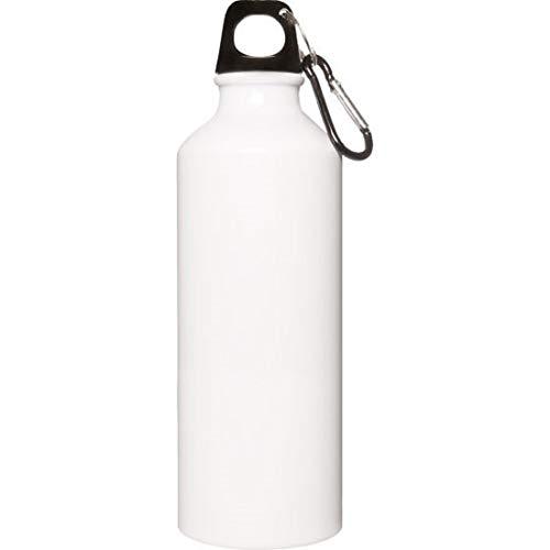 Cantimplora aluminio 500 ml Color blanco con mosquetón de aluminio. Material: aluminio. Medidas del artículo: Ø 6,5 x 21 cm.