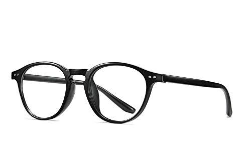 SKILEC Gafas Anti Luz Azul Gafas Lectura Hombre Mujer Gafas Ordenador TR90 Filtro Azul UV Gafas Presbicia Hombre Antifatiga para PC, Gaming, Tablet, TV, Lentes Transparentes (Negro Brillante)