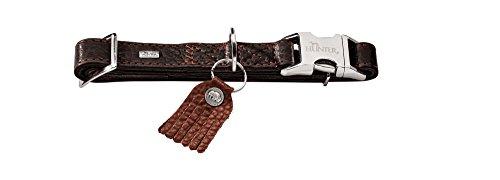 HUNTER CODY ALU-STRONG Halsung, Hundehalsband mit Aluminium Steckverschluss, Leder, rustikal, weich, M, dunkelbraun