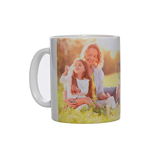 Stampa la Tua Foto e Scritta su Tazza Personalizzata, Modello Mug in Ceramica con Scatola per Uso Regalo, Alimentare e arredo (Bianco, 300 ml)